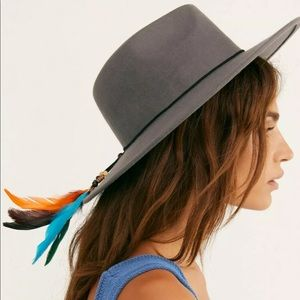 NEW Free People Marlow Fedora Hat Gray Feather